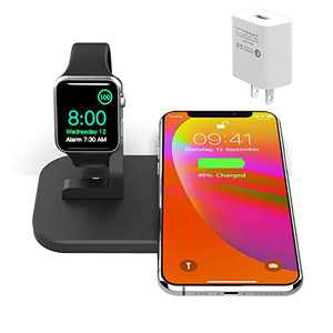 2 in 1 Metal Wireless Charger, iPhone iwatch Charging Station for iPhone 11/11pro/X/Xs/Xs MAX/8 Plus/8,Charging Stand for iWatch 5/4/3/2(with QC3.0 Adapter,NO iWatch Cable) (Matte Black)