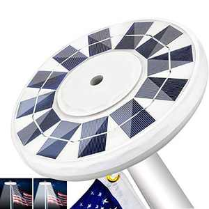 """IVYSHION Waterproof Solar Flag Pole Light, New 128 LED Super-Bright Solar Powered Flagpole with 2 Modes Auto On/Off for Most 15 to 25 Ft In-Ground Flag Poles & 0.55"""" Wide Flag Ornament Spindles"""