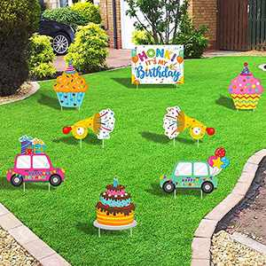 Huray Rayho Set of 8 Happy Birthday Yard Signs with Plastic Stakes Birthday Cake Cupcake Gift Cars Honk Its My Birthday Waterproof Outdoor Lawn Decorations Party Ideas for Yard Celebration