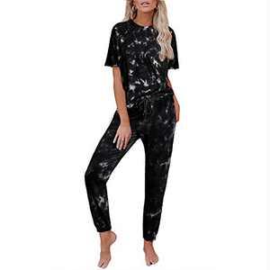 Tie Dye Lounge Sets for Women - Two Piece Pajamas Set Short Sleeve Sweatshirt with Long Pants Sleepwear with Pockets Pajamas Sets Black 3XL