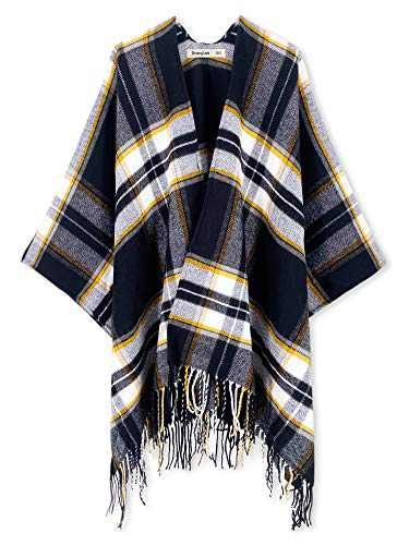 Breezy Lane Women's Shawl Wrap Poncho Open Front Cape Cardigan for Winter Holiday
