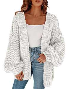 Remikstyt Womens Chunky Cardigan Cable Knit Oversized Open Front Cardigan Sweaters White