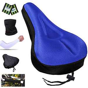 Karetto Bike Gel & Foam Seat Cover,Bike Seat Cushion for Women Men Comfort,Excercise Bicycle Saddle Cover with Drawstring,Rain and Dust Resistant,Soft Cover for Mountain,Road and Cruiser Bikes