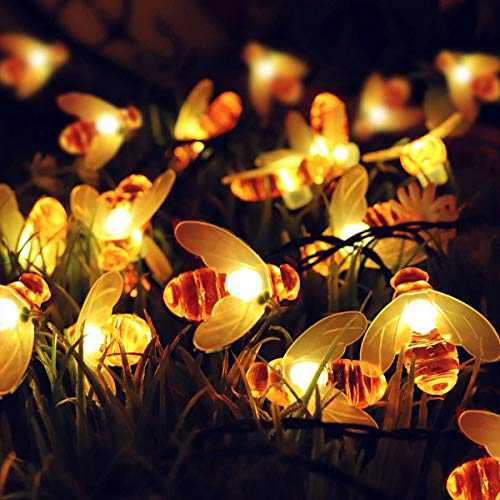 picK-me Solar Bee String Lights, 50LEDs 16ft/5M 8 Modes, Honeybee String Lights, Outdoor Honey Bee Fairy Lights for Garden Home Patio Lawn Party Holiday (16ft/5M, Warm White)
