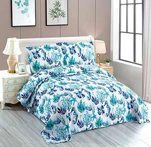 3-Piece Green Seascape Lightweight Quilt Set,Beach Ocean Themed Bedspread Coverlet,Coastal Marine Life Sea-Weed Seashell Seahorse Starfish Scallop Bed Cover Seaside Bedding Set (Green Corals,Queen)