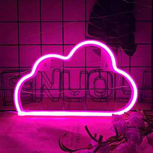 Pink Cloud Neon Signs Decorative LED Neon Light Battery USB Sleeping Night Light Cloud Neon Night Light Cute Marquee Signs Wall Art Decor for Baby Girl Bedroom Wedding Decoration Acrylic Neon Light