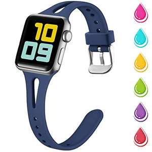 Nofeda Slim Band Compatible with Apple Watch 42mm 44mm, Soft Silicone Breathable Narrow Thin Sport Bands Replacement for iWatch Series 5 4 3 2 1, Sport Edition Women Men, M/L, Navy Blue