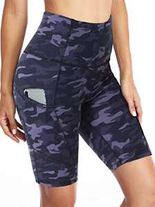 """CAMPSNAIL Biker Shorts for Women High Waist - 8"""" Workout Yoga Athletic Bike Shorts with Pockets for Running Sports Compression"""