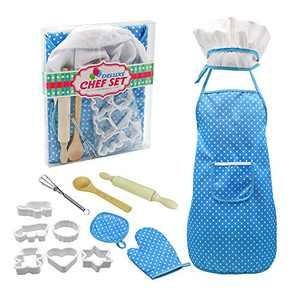 Sovoadur Kids Baking Set Chef-Costume - Apron, Hat and Cooking Set, Easter Birthday Christmas Xmas Gifts for Girls 3 4 5 6 7 8 Year Old (Blue 13pcs)