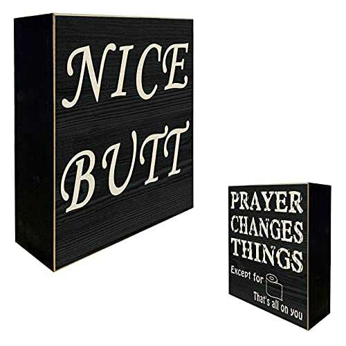 """YINUOWEI Nice Butt Bathroom Decor Box Sign Rustic Bathroom Signs Decor Funny, Farmhouse Classic Wooden Stand up Box Toilet Seat Decor Sign - Prayer Changes Things on The Backside, 6"""" Square"""