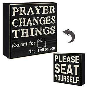 """YINUOWEI Please SEAT Yourself Bathroom Sign Decor Funny Rustic Wooden Stand up Box Sign Classic Farmhouse Wall Decor - Prayer Changes Things Except for Toiler Paper on The Backside, 6"""" Square"""