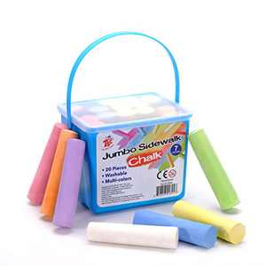 TBC The Best Crafts Chalk Set, Jumbo Sidewalk Chalk with 20 Pieces 7 Colors,Washable Street Chalks Set with Handy Case