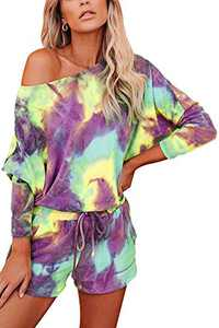 Women Tie Dye Lounge Set Long Sleeve Casual Sweatshirt Pajamas Shorts 2 Piece Outfits Color 3 XL