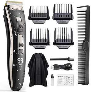 Hair Clippers for Men, DUSASA Professional Cordless Rechargeable Electric Trimmer, 3-Speed Adjustment Hair Cutting Kit with LED Display, Hair Trimmer with Oil and Brush, 4 Guide Combs Set
