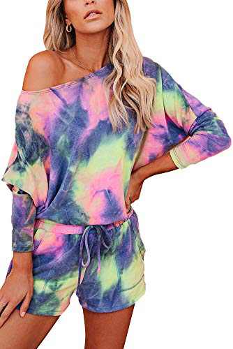 Women Tie Dye Lounge Set Long Sleeve Casual Sweatshirt Pajamas Shorts 2 Piece Outfits Color 1 XL