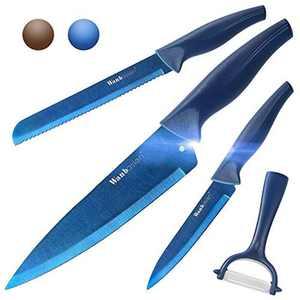 Wanbasion 4 Piece Blue Professional Kitchen Knife Chef Set, Kitchen Knife Set Stainless Steel, Kitchen Knife Set Dishwasher Safe with Sheathes & Peeler