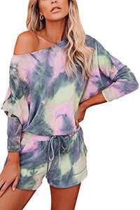 Women Tie Dye Lounge Set Long Sleeve Casual Sweatshirt Pajamas Shorts 2 Piece Outfits Color 2 L