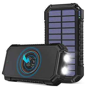 Solar Power Bank 26800mAh, Riapow Solar Charger Fast Charge 3.0A Qi Portable Charger External Battery with 4 Outputs & LED Flashlight Phone Chargers for Phone, Tablet and Camping Outdoors