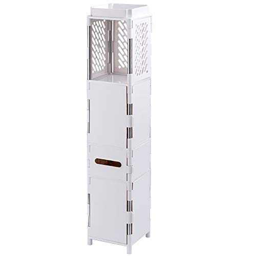 Bathroom Storage Organizer Standing Shelf Cabinet, Narrow Floor Cabinet Over The Toilet Storage for Bathroom or Kitchen (White)