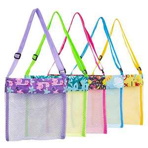 Beach Toys Shell Bags Beach Bag for Kids 5 Pcs Colorful Mesh Beach Bags Kids Seashell Mesh Bag for Kids Storage Shell Fruit Vegetable Or Toys(Set of 5)