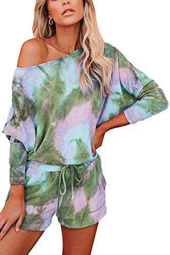 Women Tie Dye Lounge Set Long Sleeve Casual Sweatshirt Pajamas Shorts 2 Piece Outfits Color 5 M