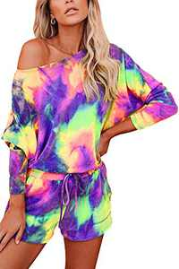 Women Tie Dye Lounge Set Long Sleeve Casual Sweatshirt Pajamas Shorts 2 Piece Outfits Color 4 L
