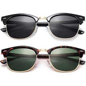 KANASTAL Semi Rimless Polarized Sunglasses for Women Men, Unisex Sunglasses with Half Frame