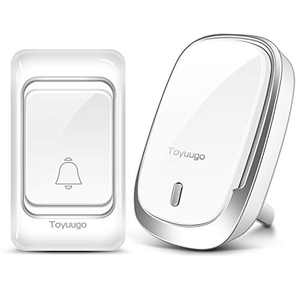 Waterproof Wireless Doorbell,toyuugo Wireless Door Bell Chime Kit with 60 Door Bell Chime,4 Volumes Levels,Operating at 1000-feet Range Plug in Receivers Wireless Doorbells for Home Office Classroom
