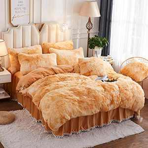 JAUXIO Luxury Abstract Faux Fur Bedding Set Tie Dye Printed Shaggy Duvet Cover with Pillow Shams Soft Crystal Velvet Reverse (Twin, Sandy Brown)