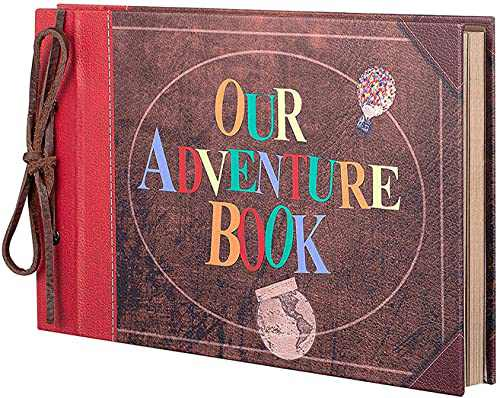 Photo Album Scrapbook, Photo Book,Adventure Book,Our Adventure Book Scrapbook with Colorful Cover 3D Letters Up Travel Scrapbook for Memory Record,Anniversary, Wedding, Travelling, Baby Shower