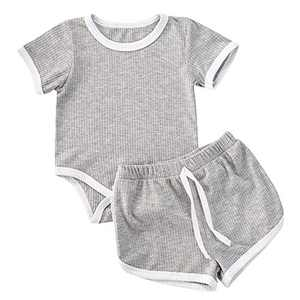 Newborn Baby Boys Girls Ribbed Knit Cotton Short Sleeve Bodysuit Top and Shorts Outfit Summer Clothes Set (12-18 Months, Grey)