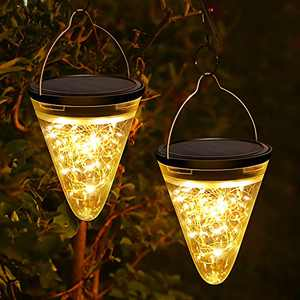 Fudosa Solar Lantern Outdoor, 50 LEDs Warm Light Hanging Lights 2 Pack Decorative Lighting for Garden Yard Shepherd Hooks