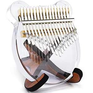 Kalimba 17 Keys Thumb Piano, Christmas Decorations Portable Transparent Acrylic Mbira Wood Finger Piano, Musical Instrument Gifts for Kids Adult Beginners with Tuning Hammer and Study Instruction