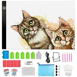 YRYM HT Diamond Painting A4 LED Light Pad Kit - Diamond Art Light Board with 144PCS 5D Painting Tools, Apply to Full Drill & Partial Drill 5D Diamond Painting with Detachable Stand and Clips