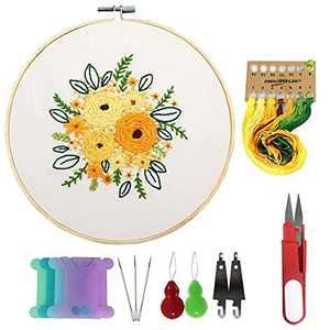 Full Range of Embroidery Starter Kit Embroidery Starter Pattern Cross Stitch kit Embroidery Stitch Beginner Instructions Cross Stitch Kits Needlework Embroidery Starter Pattern(oj02 Spring Flower)