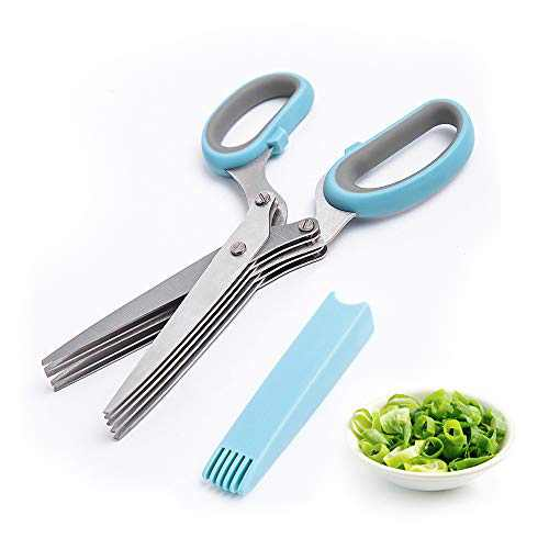 Herb Scissors LISA ENJOYMENT Herb Scissors Set with 5 Blades and Cover Stainless Steel Herb Scissors Herb Cutter Shears Kitchen Herb Shears