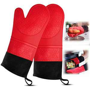 Oven Mitts and Pot Holder-Extra Long Heat Resistant Silicone Oven Mitt with 2 trivets & Mini Pinch Oven Mitts- Black