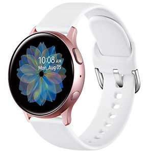 DGege Bands Compatible with Samsung Galaxy Watch 42mm/Samsung Watch Active/Active2 40mm/44mm, Replacement Strap Compatible with Samsung Galaxy Sport, White, Small