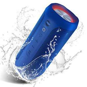Waterproof Portable Bluetooth Speaker Pulsed Party Lights - Blue