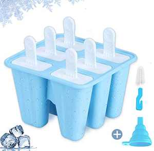 Popsicle Molds for Kids, Teetookea 6 Pieces Silicone Ice Pop Molds, Reusable Popsicle Maker with Silicone Funnel & Cleaning Brush (Blue)