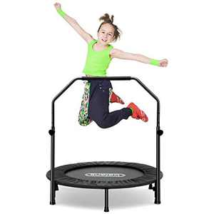 beiens 40 Inch Foldable Mini Rebounder with Adjustable Foam Handle and Safety Pad, Indoor Outdoor Exercise Rebounder for Adults Kids Body Fitness Training Workouts, Max Load 250lbs (Black)