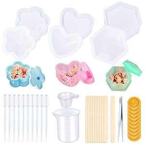 Hysagtek 45Pcs Silicone Resin Molds Kits, 3 Pcs Resin Casting Molds Including Heart, Hexagon, Flower, with Measuring Cup, Tweezers, Mixing Sticks, Dropping Pipette, Disposable Cup, Fingure Cots