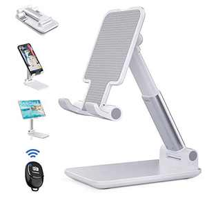 Cell Phone Stand, YeahWhee Adjustable Phone Stand for Desk, Foldable iPad Tablet Stand Phone Holder Mount with Bluetooth Remote Control Compatible with All iPhone,Smartphone,iPad,Tablet/Kindle