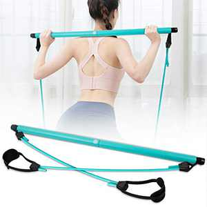 SKY TOP POWER Portable Pilates Bar Kit with Resistance Band Adjustable Exercise Stick Toning Gym (Blue)