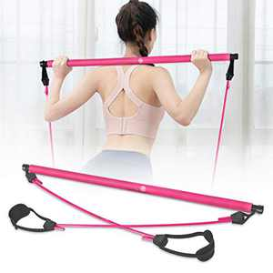 SKY TOP POWER Portable Pilates Bar Kit with Resistance Band Adjustable Exercise Stick Toning Gym (Red)
