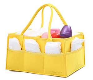 wawabox Diaper Caddy Organizer - Baby Gifts Diaper Bag, Nursery Storage Bin with Removable Divider, Diaper Basket for Newborn Kids, Large Felt Wipes Container Tote, Yellow