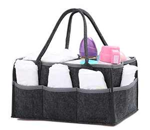 wawabox Diaper Caddy Organizer - Baby Gifts Diaper Bag, Nursery Storage Bin with Removable Divider, Diaper Basket for Newborn Kids, Large Felt Wipes Container Tote, Dark Grey