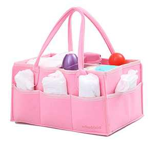 wawabox Diaper Caddy Organizer - Baby Gifts Diaper Bag, Nursery Storage Bin with Removable Divider, Diaper Basket for Newborn Kids, Large Felt Wipes Container Tote, Pink