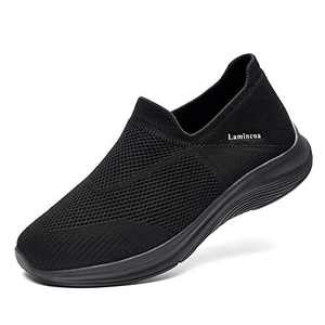 Lamincoa Womens Walking Shoes Lightweight Elastic Sock Athletic Running Shoes Slip On Mesh Sneakers Comfort Work Shoes Black Size 9