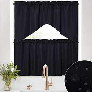 RYB HOME Waterproof Curtains for Kitchen - 4 Panels Swag Valances and Tiers for Windows, Rod Pocket Stain Proof Half Blackout Short Drapes for Bathroom Cafe Nursery, Black